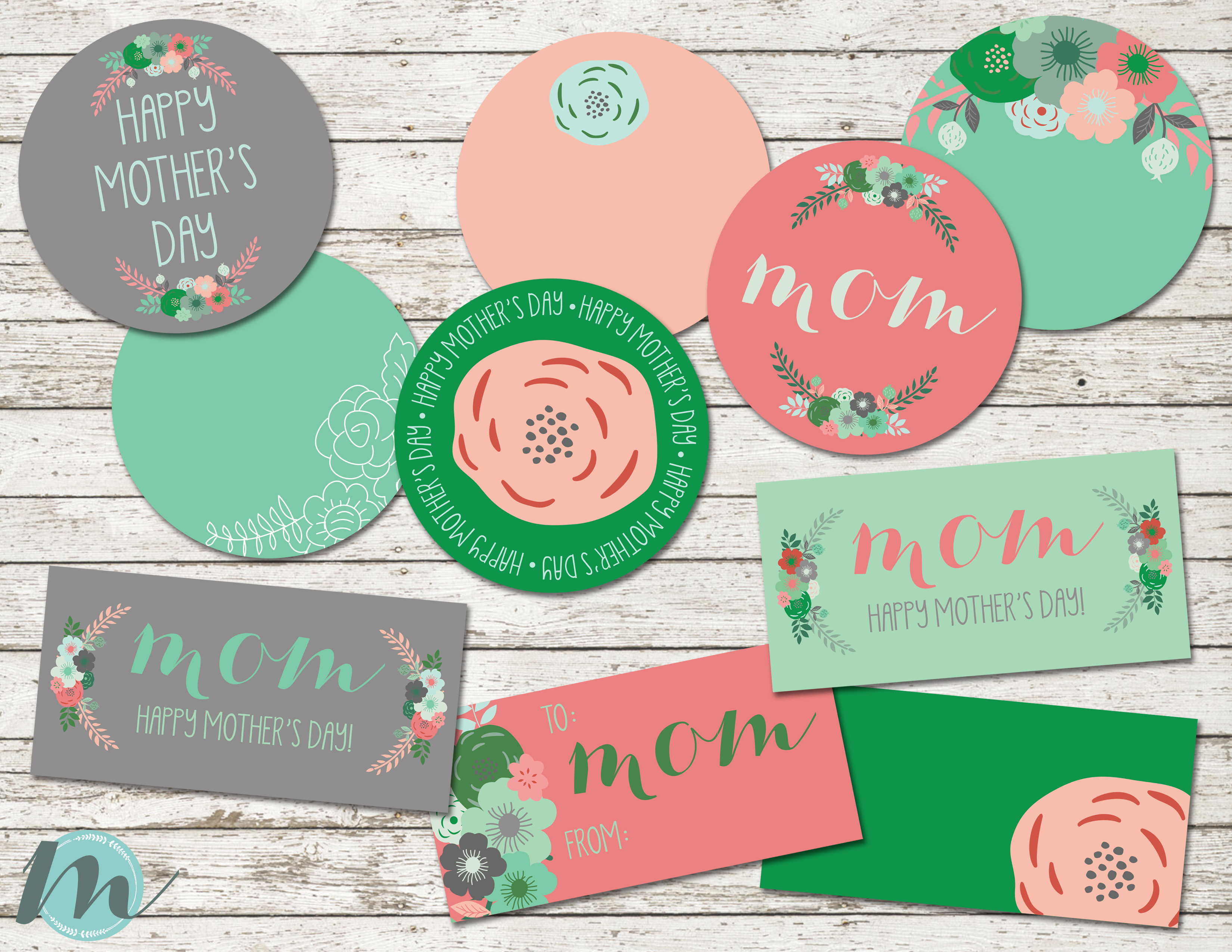 $7.00 – DIGITAL DOWNLOAD – MOTHER\'S DAY – BAG TOPPERS + CIRCLE TAGS ...