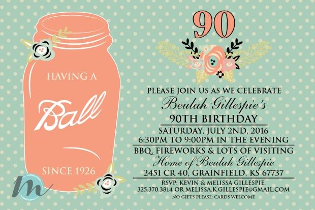 Custom 90th Birthday Invitation June 6 2016 Print
