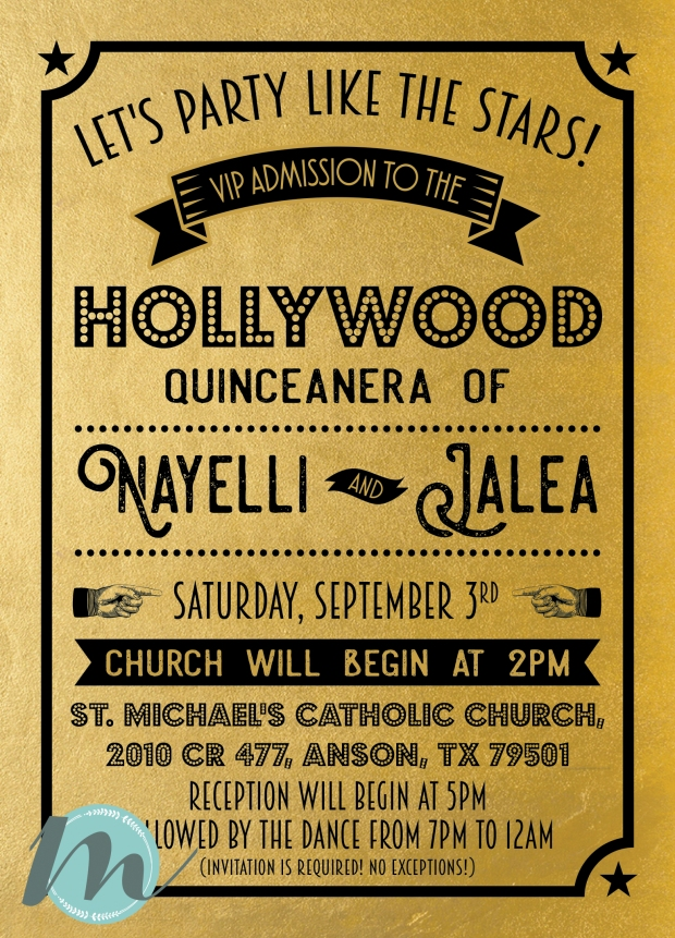 black and gold hollywood vip quinceanera invitation design merely