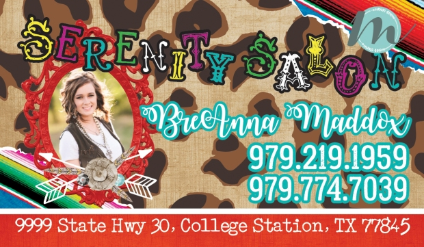 Leopard print and serape salon business card design merely madison we had so much fun designing this stylish business card design for cosmetologist breanna colourmoves Image collections