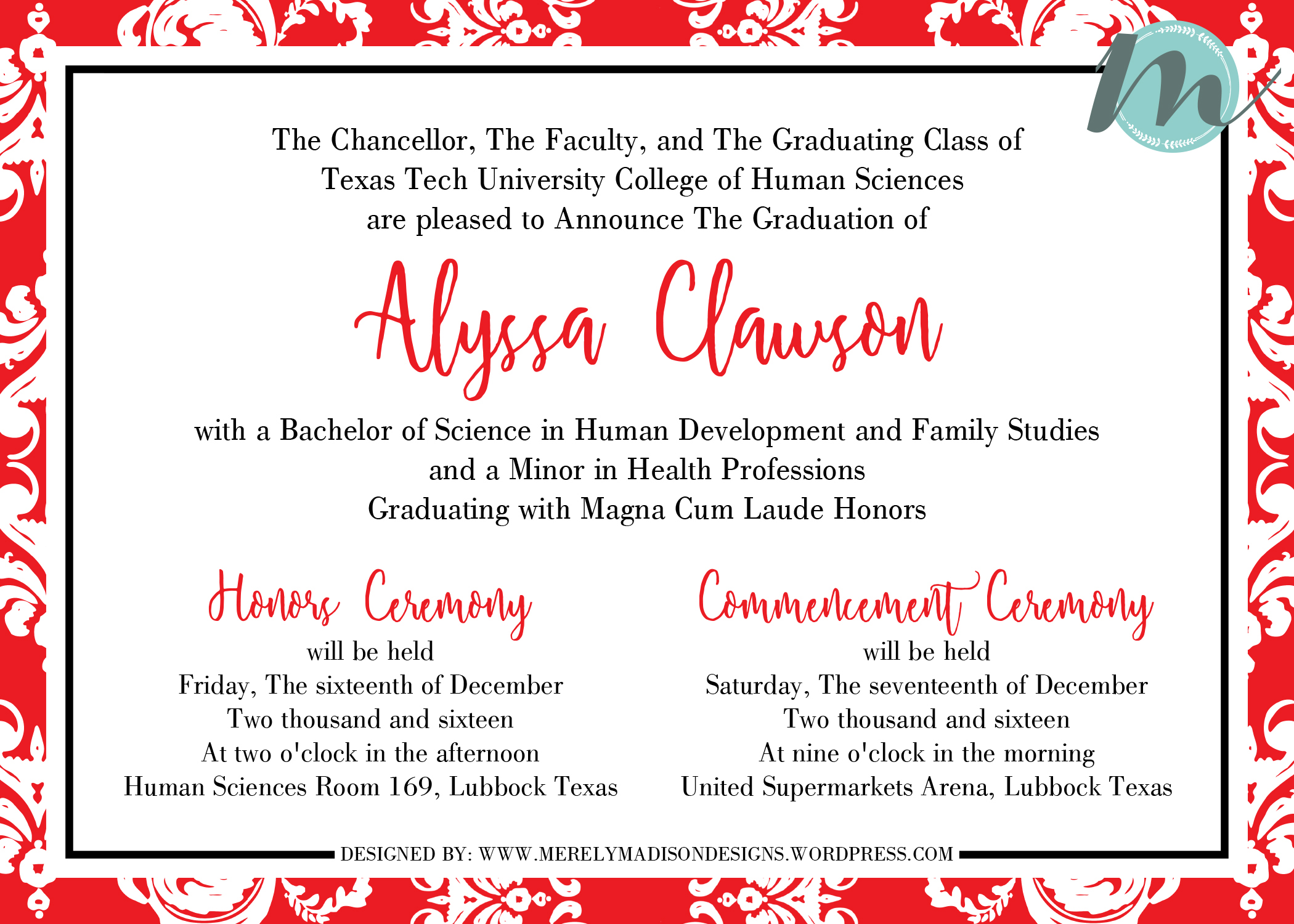 Red and White Damask Texas Tech Graduation Invitations Merely