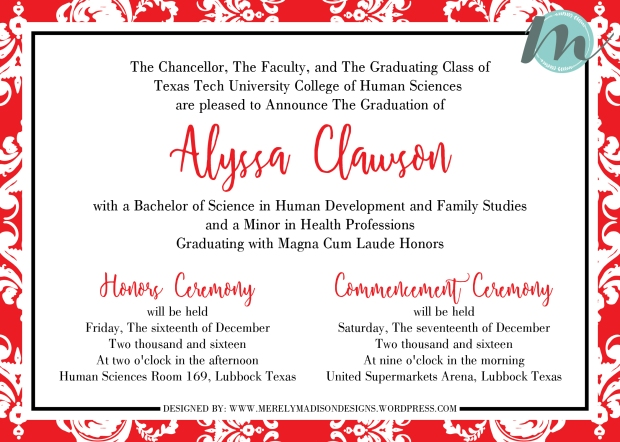 Red and white damask texas tech graduation invitations merely we loved designing this elegant texas tech graduation invitation the classy red and white damask give it an elegant feminine touch filmwisefo