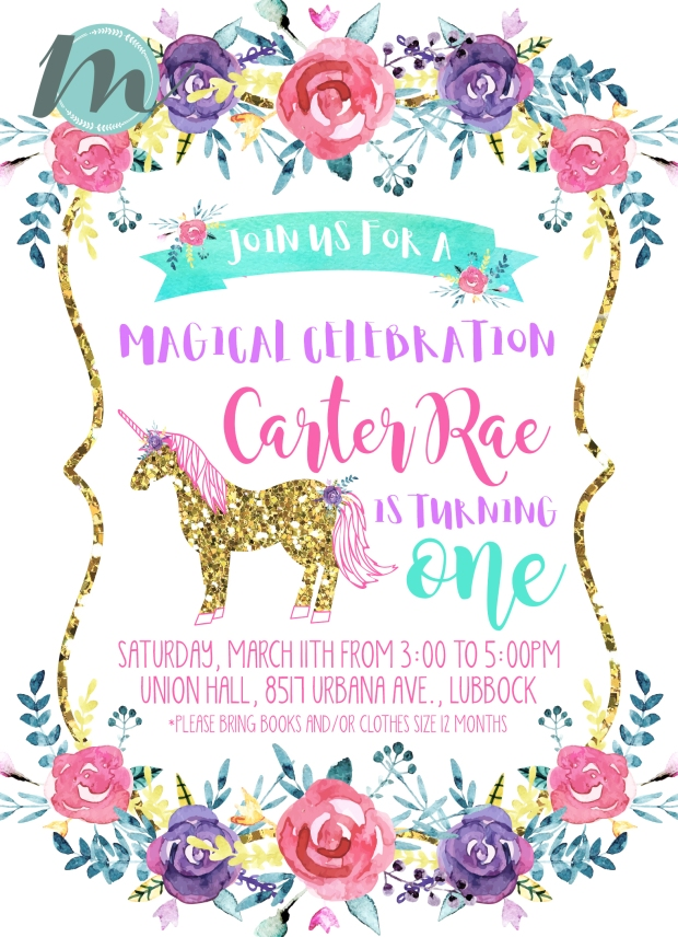 Magical Unicorn Birthday Invitation Design Merely