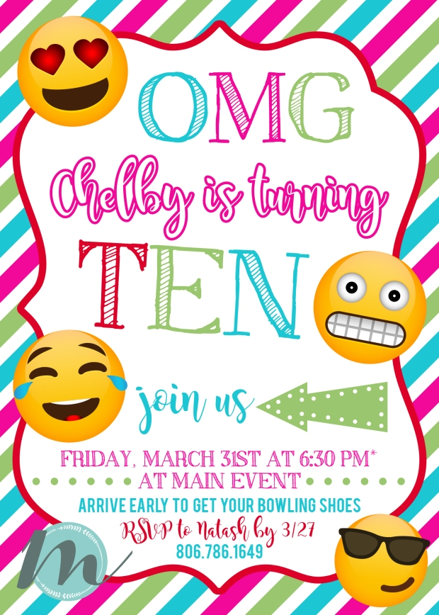 We Enjoyed Designing These Fun And Bright 10th Birthday Invitations With Some Familiar Emojis Happy Chelby