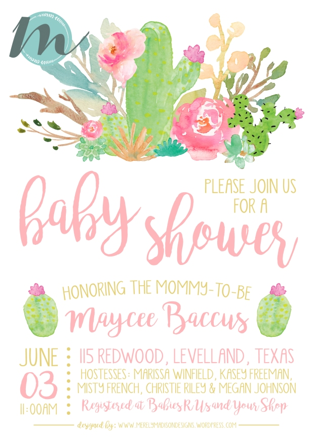 Watercolor Floral Cactus Baby Shower Invitation Merely