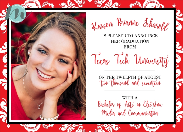 Texas tech graduation announcement merely madison designs we loved working on these elegant red black and white damask graduation announcements for texas tech senior karson guns up filmwisefo