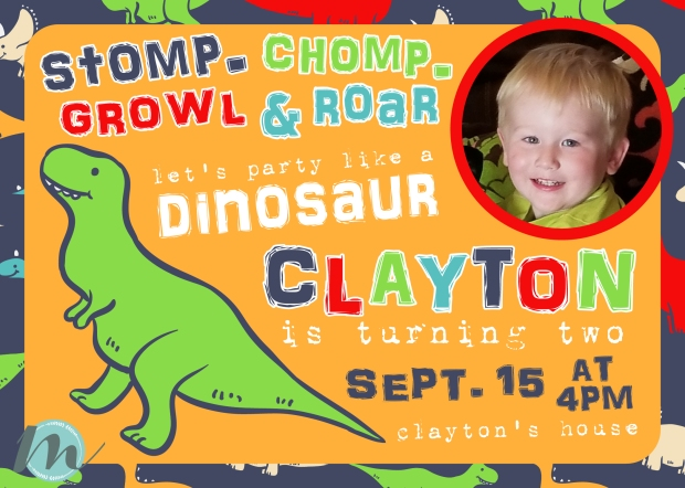 Dinosaur Stomp Chomp Growl Roar Second Birthday Invitations